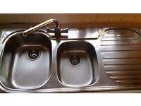 Stainless Steel Kitchen Sink 2 bowl Great Cond!