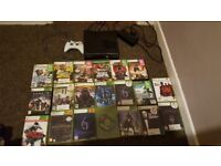 Xbox 360 and 20 games for sale.