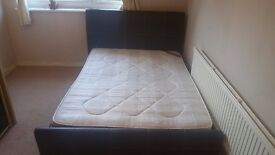 Double Bed Frame Choc Brown Leather + Mattress to collect immediately £25. Collierswood, London