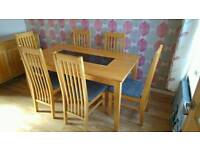 5ft Wooden Dining Table & 6 Chairs