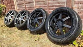 R17 5x114 5x110 Alloy wheels with tyres 7.5jj ET35 (Toyota, MR2, jap , jdm)