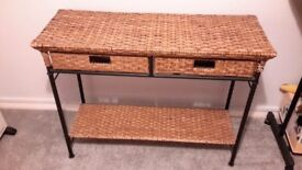 Wicker & wrought iron console table