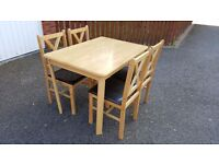 Solid Wood Table 115cm & 4 Rubber Wood Cross Back Dining Chairs FREE DELIVERY (02536)
