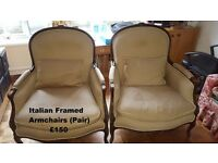 Pair of Italian Framed Chairs