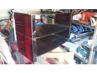 TV stand, black glass 710mm wide 410mm deep 450mm high