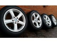 "GENUINE BMW ALLOY WHEELS 17"" 3 4 SERIES F30 F31 F33 F36 PIRELLI TYRES 225 50 17"
