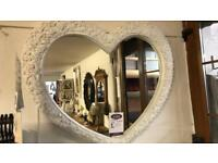 Large white heart mirror new
