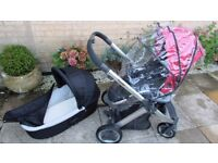 oyster pram set,rain cover,mint condition