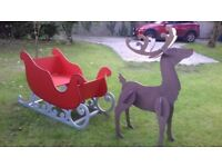 Large Wooden Santa Sleigh and Reindeer Photo Shoot Prop Shop Events Photographer Garden Display Home