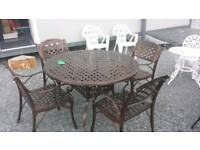 Cast aluminium garden furniture table and chairs great quality furniture