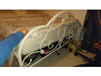 White metal bed frame and mattress (double)