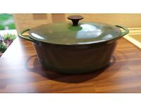 Le Cousances cast iron oval casserole dish, size 30, green, used in very good condition.