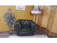 CHESTERFIELD LEATHER/THOMAS LLOYD CLUB CHAIR AND COFFEE TABLE/FOOTSTOOL