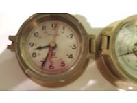 Barometer and Clock in Brass