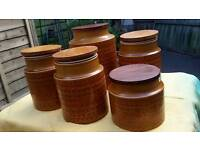 5 Hornsea pottery storage jars