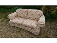 Patterned fabric 3 seater sofa beige brown