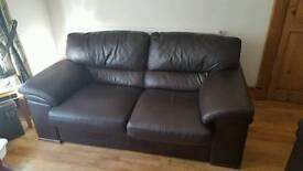 Chocolate brown real leather sofa
