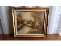 Original antique oil painting in gold gilt frame of river and trees scene