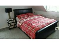 Leather King Size Bed + Mattress