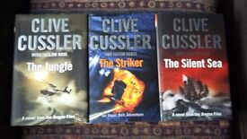 15 clive cussler books.3 of which are hardback.including the game of thrones book.hardback