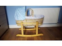 Moses basket perfect condition blue