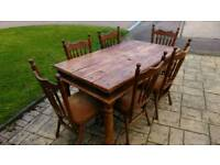 Farmhouse table rustic and 6 Pynock chairs