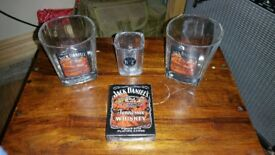 JACK DANIELS PLAYING CARDS, TUMBLERS