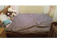 Malm Ikea double bed with foam mattress