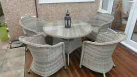 Rattan round garden table and 4 chairs