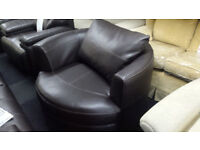 BROWN HIGH QUALITY DURABLE LEATHER SWIVEL CHAIR