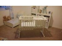 White mothercare swing crib