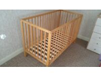 Baby / Toddler Mothercare cot in excellent condition including mattress with protection cover