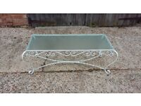Vintage Painted Retro Metal and Glass Coffee Table Conservatory Furniture LEWES COLLECTION
