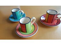 Set of 3 Hand Painted Whittard of Chelsea Expresso Cups and Saucers