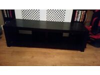 Black wooden TV Stand with 2 x matching DVD stands