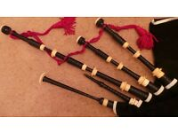Antique bagpipes Thow MacDougall Ebony & Ivory