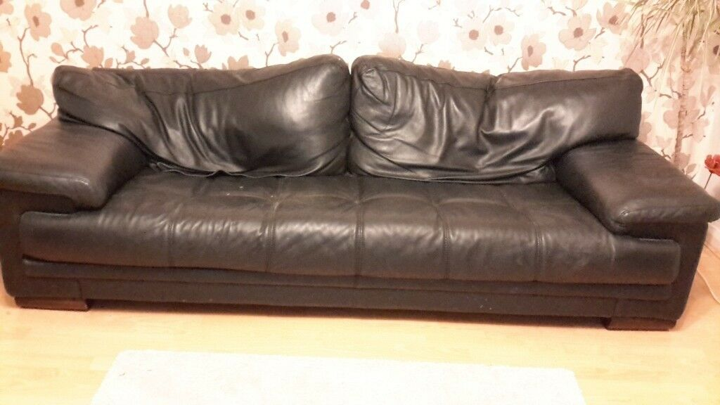 Terrific Used Black Leather Sofa And Chair In Caldicot Machost Co Dining Chair Design Ideas Machostcouk