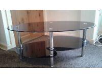 Modern glass coffee table.