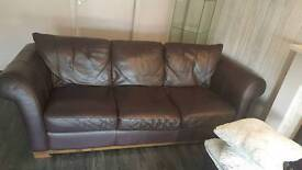 2 + 3 seater brown Italian leather couch