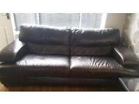 Brown solid leather sofa