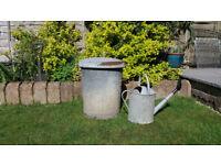 Old Vintage Galvanised Metal Garden Dust Bin - Compost Bin ? - Incinerator ?