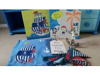Pirate bedroom bundle - NEXT curtains, canvases wall art, signs and bunting