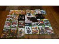 Xbox 360 with controllers and selection of games