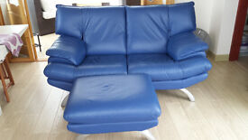 Blue leather sofa and footstool