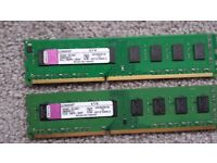 2x 4GB DDR3 1066Mhz non-ECC desktop memory Kingston KVR1066D3N7/4G