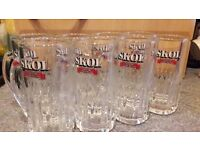 Original SKOL heavy Half Pint Beer Glasses x 8 circa 1970's Perfect Condition