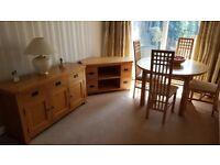 Oak dining suite, sideboard and tv station