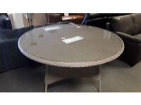 RATTAN EFFECT ROUND TABLE 1.5M DIAMETER CAN DELIVER