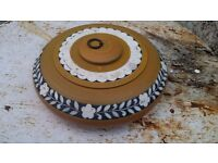 Offer Indian Antique Hand Carved Inlay Wooden Round Tobacco Box