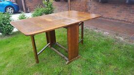 Vintage oak drop leaf folding kitchen / dining table